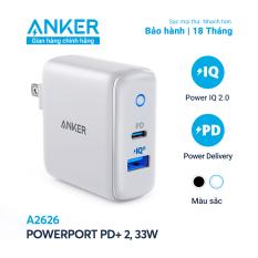 Sạc ANKER PowerPort PD+ 2 với 1 PD và 1 PIQ 2.0 33W – A2626