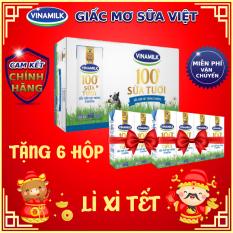[TẶNG THÊM 6 HỘP]-Thùng 48 Hộp Sữa tươi tiệt trùng Vinamilk 100% Ít Đường 180ml
