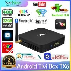 Android Tivi Box TX6 4G+32G Allwinner H6,Hỗ trợ Bluetooth,được cài đặt sẵn ứng dụng TV miễn phí & MK+