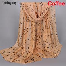 Jettingbuy [HDD] Khăn Quàng Cổ Thời Trang Nốt Nhạc Cho Nữ In Khăn Voan Mềm Vô Cực Mới