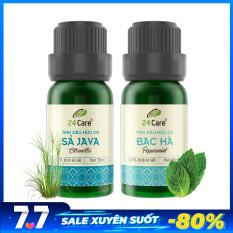 Combo 2 chai Tinh dầu Sả Java & Tinh dầu Bạc Hà 24Care
