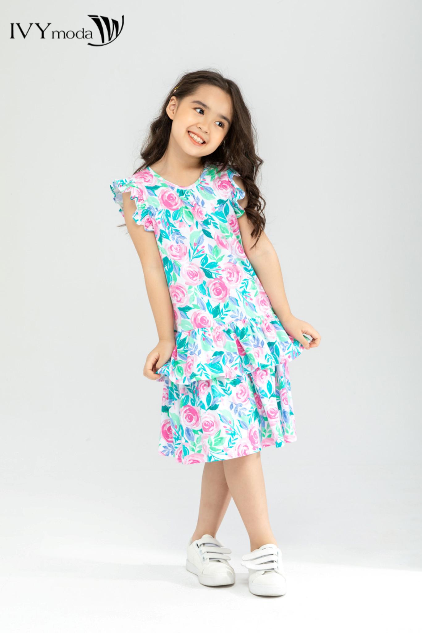 Đầm thun bé gái họa tiết hoa xinh xắn IVY moda MS 42G1307