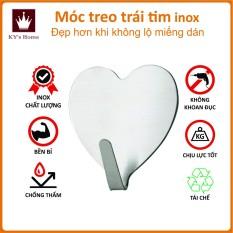 Móc dán tường hình trái tim inox không gỉ 4x4cm