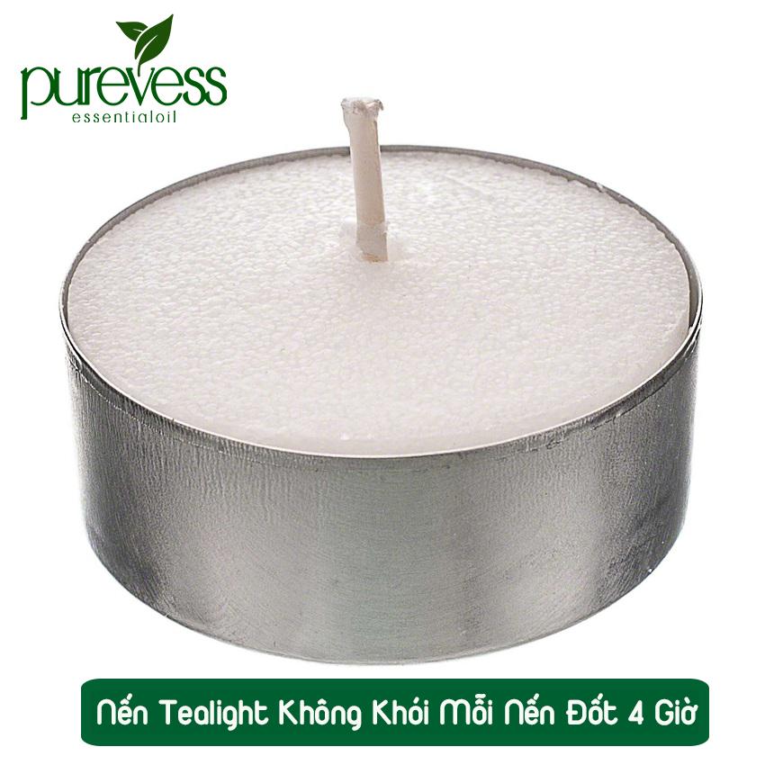 Nến Tealight Purevess không khói, không mùi, cháy 4 giờ. Tealight candle