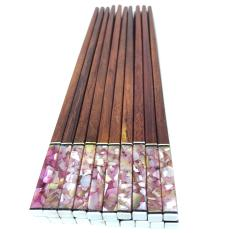 Bộ 10 đôi đũa ăn gỗ Cẩm lai cao cấp đầu vuông gắn trai biển Tím