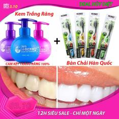 Combo Bộ Kem Trắng răng Nhật Bản hiệu quả – công nghệ làm sạch Nano – Tẩy vết ố trên răng hiệu quả – Cho hàm răng trắng Và Bàn Chải Kem Đánh Răng Than Hoạt Tính Hàn Quốc