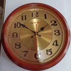 Đồng hồ treo tường mặt tròn màu gỗ máy tốt