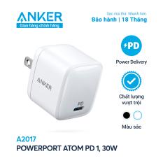 Sạc ANKER PowerPort Atom PD 1 cổng 30W [GaN Technology] – A2017 – Hỗ trợ sạc nhanh 18W cho iPhone 8 trở lên,Sạc nhanh cho iPad Pro 2018, iPad Pro 2020 và thiết bị cổng C