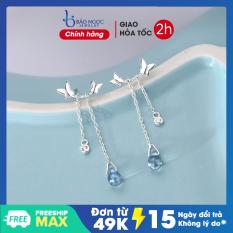 Bông tai nữ bông tai dáng dài bạc S925 cao cấp, bông tai hình cánh bướm đá xanh độc đáo phong cách Hàn Quốc B2607 Bảo Ngọc Jewelry