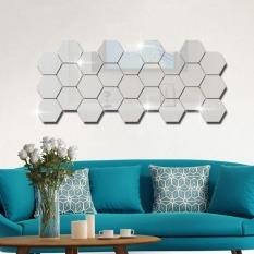 Bộ 12 gương dán tường hình lục giác, gương dán tường, kích cỡ 4cm x 4cm, gương dán tường trang trí phòng khách, nhà vệ sinh – gương trang trí, hình lục giác