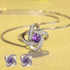 Bộ trang sức bạc hoa tai và dây chuyền S925 Hoa mặt trời nạm đá zircon tinh tế MDL-BTS77