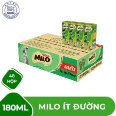 Thùng 48 hộp Nestlé MILO ít đường – 12 lốc x 4 hộp x 180ml (Hạn sử dụng: Tháng 12/2019)