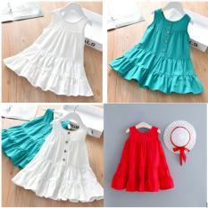 Váy cotton 3 tầng khuy sau cực xinh cho bé gái 5-40Kg