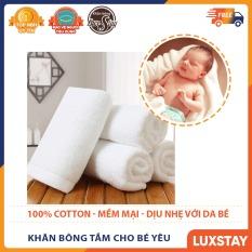 Khăn tắm cho bé 100% cotton kt 65x130cm – khăn dệt sợi bông tự nhiên thấm nước tốt an toàn cho da em bé – Luxstay