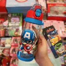 Bình nước nút bấm hình Avengers, công chúa Sofia siêu hot cho trẻ em, bé trai, bé gái – 600ml – 3228
