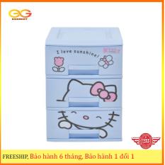 Tủ nhựa Kitty Song Long 3 tầng đựng đồ trẻ em, đồ sơ sinh, tiện ích trong gia đình