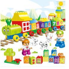 Bộ lắp ghép mô hình tàu hỏa gồm 65 chi tiết bằng nhựa cao cấp đồ chơi cho trẻ em