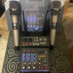 [THANH LÝ HÀNG TỒN] Combo 2 micro + Bàn Trộn Âm Thanh Kiêm Lọc Âm Mixer Yamaha G4 Kết Nối ÂmLy, Loa Kéo..Hát trực tiếp trên điện thoại+Thu âm livestream