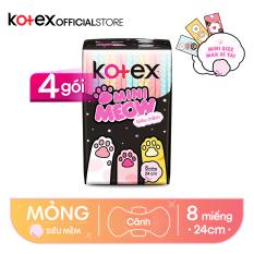 Combo 4 Băng Vệ Sinh Kotex Mini Meow Siêu Mềm SMC 8 miếng