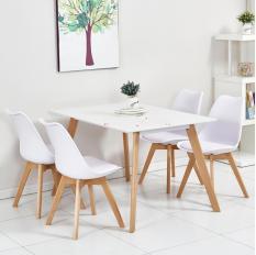 Bộ Bàn Ăn AZ PRICE New Star 1.2m và 4 ghế Nệm Cao Cấp Trắng (khách hàng được chọn màu)