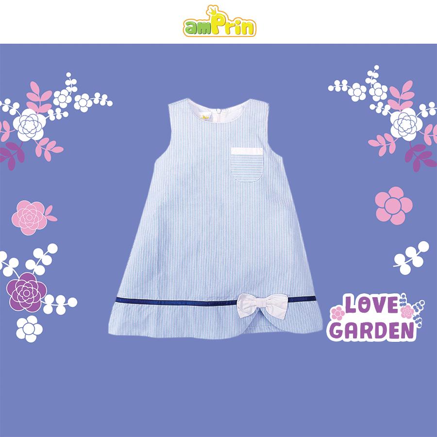 Đầm vải dáng chữ A hoạ tiết kẻ sọc dành cho bé gái từ 0-12 tuổi AmPrin D417