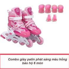 Giày trượt patin, an toàn cho trẻ em, bánh xe phát sáng nhiều màu+ TẶNG GIÁP BẢO VỆ 6 MÓN