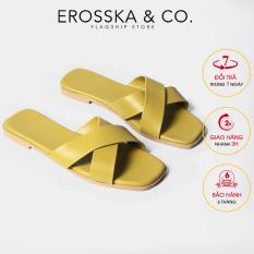 Dép nữ đế bệt Erosska thời trang mũi vuông thiết kế phối dây quai chéo DE029 (YE)