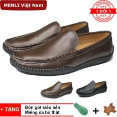 [DA BÒ] Giày lười, giày mọi nam da bò 100% MENLI GLLZ139 (Đen, Nâu).