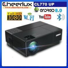 Máy chiếu Android FULL HD Cheerlux CL770 projector, kết nối WIFI, Bluetooth, xem youtube, netflix, tivi online thật tiện lợi.