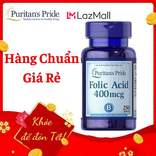 Viên uống ngăn ngừa thiếu máu Puritan's Pride Folic Acid 400mcg 250 viên HSD tháng 1/2022