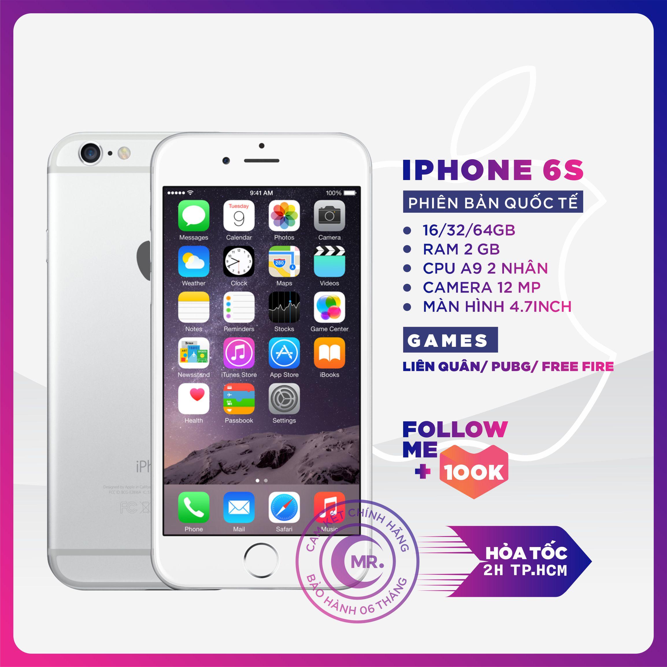 Điên thoại Apple iPhone 6S 32GB 64GB RAM 2GB QUỐC TẾ FullBox -kết nối tai nghe bluetooth đồng hồ thông...