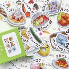 [Lấy mã giảm thêm 30%] Hộp 40 Miếng Sticker Thức Ăn xứ Sở Hoa Anh Đào