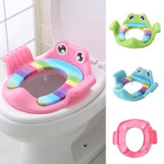 Bệt lót bồn cầu có tay vịn hình chú ếch, thu nhỏ bồn cầu cho bé ngồi vệ sinh