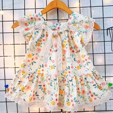 Đầm nơ ren cánh tiên cao cấp họa tiết hoa nhí nhẹ nhàng đáng yêu cho bé 1-7 tuổi chất cotton nhẹ mát xinh xắn BBShine – D072