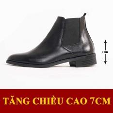 [Lấy mã giảm thêm 30%]Giày Nam Chelsea Boot Cao Cổ Cao Câp Udany – Gcn08 – Da Bò Thật Trơn Xịn Không Nhăn Màu Đen