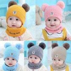 Bộ khăn mũ len hai quả bông cho bé
