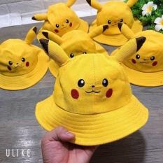Mũ nón tai bèo pikachu bé gái bé trai 2-5 tuổi có dây chống rơi