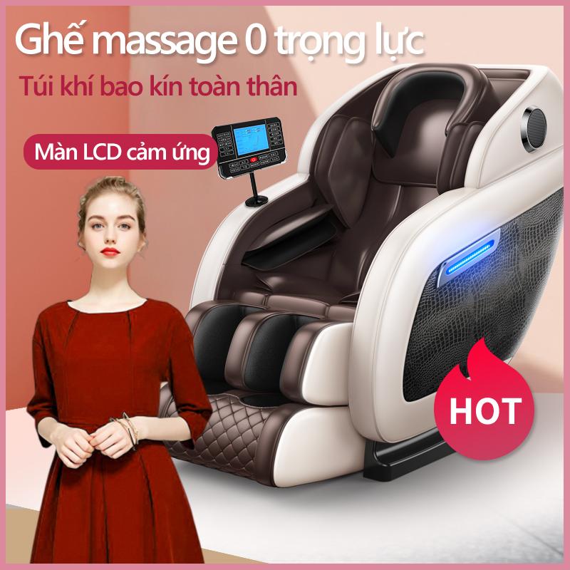 ghế massage máy mát xa toàn thân kiểu phi thuyền không trọng lực bảng điều khiển LCD cảm ứng cỡ lớn da hoa văn cá sấu loa nhạc bluetooth
