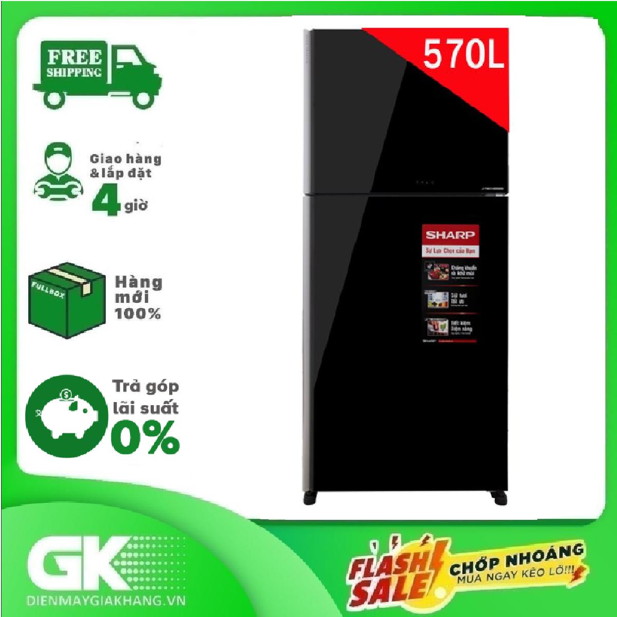 [Nhập ELMAY21 giảm 10% tối đa 200k đơn từ 99k]Tủ lạnh Sharp 570 lít Inverter SJ-XP570PG-BK