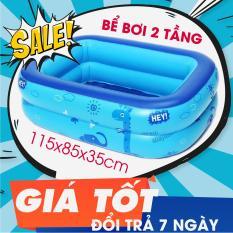 Hồ bơi trẻ em,Bể bơi cho bé,Bể bơi phao 2 tầng cho bé size 120x85x35cm – Mẫu mới