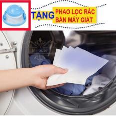 Combo 2 Hộp giấy giặt hút màu, chống loang màu nhuộm và làm sạch quần áo. Tặng 1 phao lọc rác bẩn máy giặt.