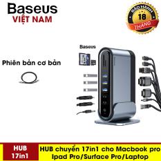 Bộ chia Hub đa năng 17 cổng Baseus 17 in 1 USB / Type-C / Jack 3.5mm / Khe cắm thẻ nhớ SD/TF 3 màn hình hiển thị khác nhau – – Phân phối bởi Baseus Vietnam
