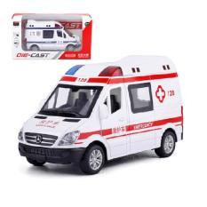 Đồ chơi xe ô tô cứu thương bằng sắt có âm thanh và đèn xe mô hình cho trẻ em