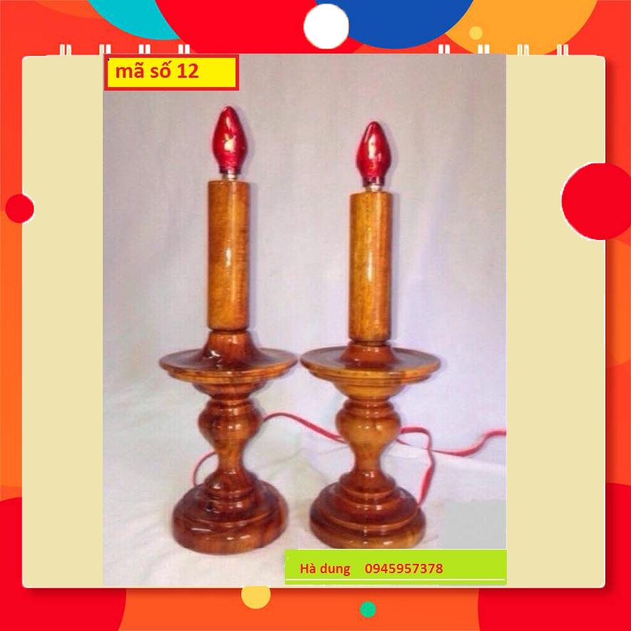 Cặp Đèn Điện Để Bàn Thờ đèn đĩa nhỏ- Gỗ Tràm Nhà Làm Hàng Chất Lượng-ms12
