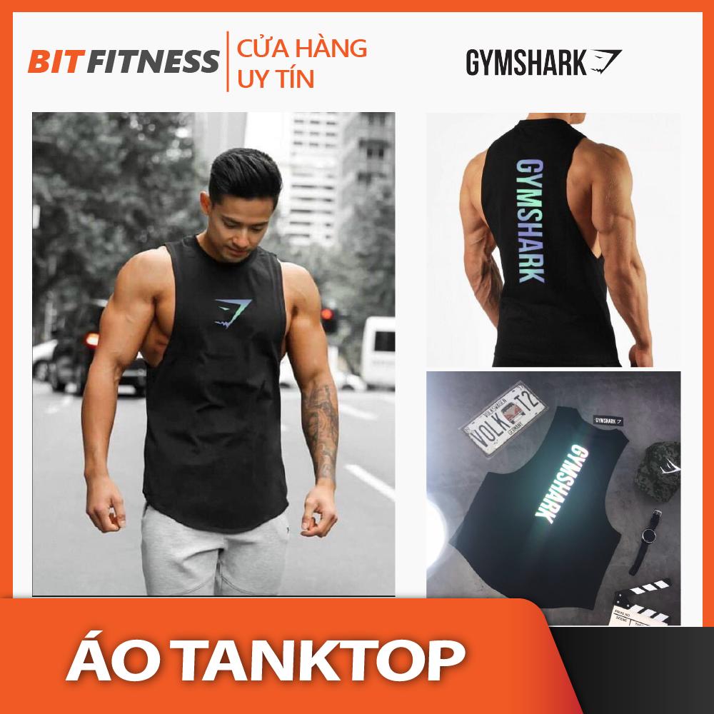 [100% cotton, logo phản quang 7 màu] Áo Tanktop tập Gym – Áo ba lỗ Gymshark vải cotton cao cấp – BiT Fitness