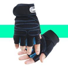 Găng tay Thể thao thoáng khí chống trượt Màu đen chỉ xanh size XL