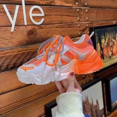 [ Hàng hot hè ] Giày thể thao nữ độn đế dây kép vấy sơn, giày sneaker nữ lưới đế màu hot hè 2020