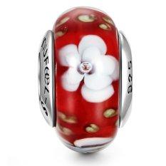 Charm 925 Thủy tinh Murano Soufeel Saigon 46006 (Đỏ – hoa trắng)
