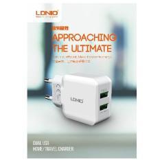 Cốc sạc điện thoại Android iPhone có IC ổn dòng bảo vệ thiết bị LDNIO – A2202 Trắng 2 USB (sạc nhanh) 100-240V