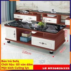 Bàn trà sofa mặt kính cường lực, bàn trà phòng khách chất liệu gỗ MDF chống nước, có ngăn kéo